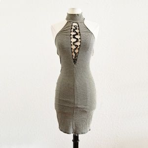 Dresses & Skirts - Striped Halter Lace Up Dress Black Gray Size S